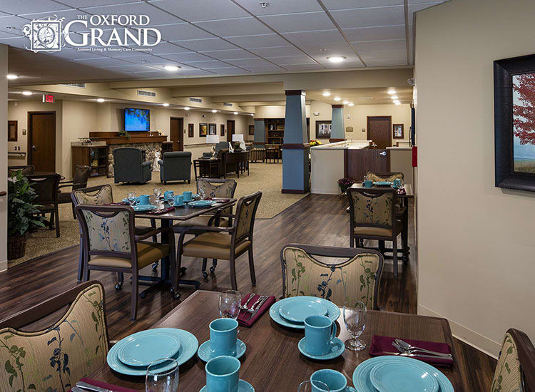 Community dining area at The Oxford Grand Assisted Living & Memory Care in Kansas City