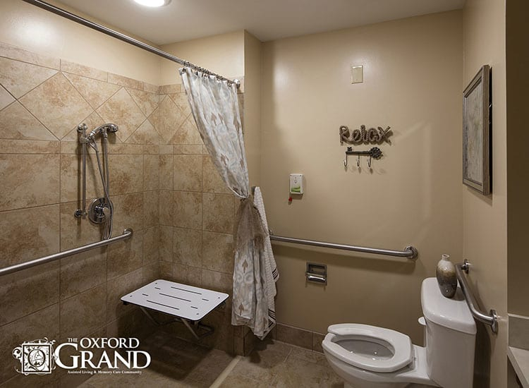 Bathroom at The Oxford Grand Assisted Living & Memory Care in Kansas City