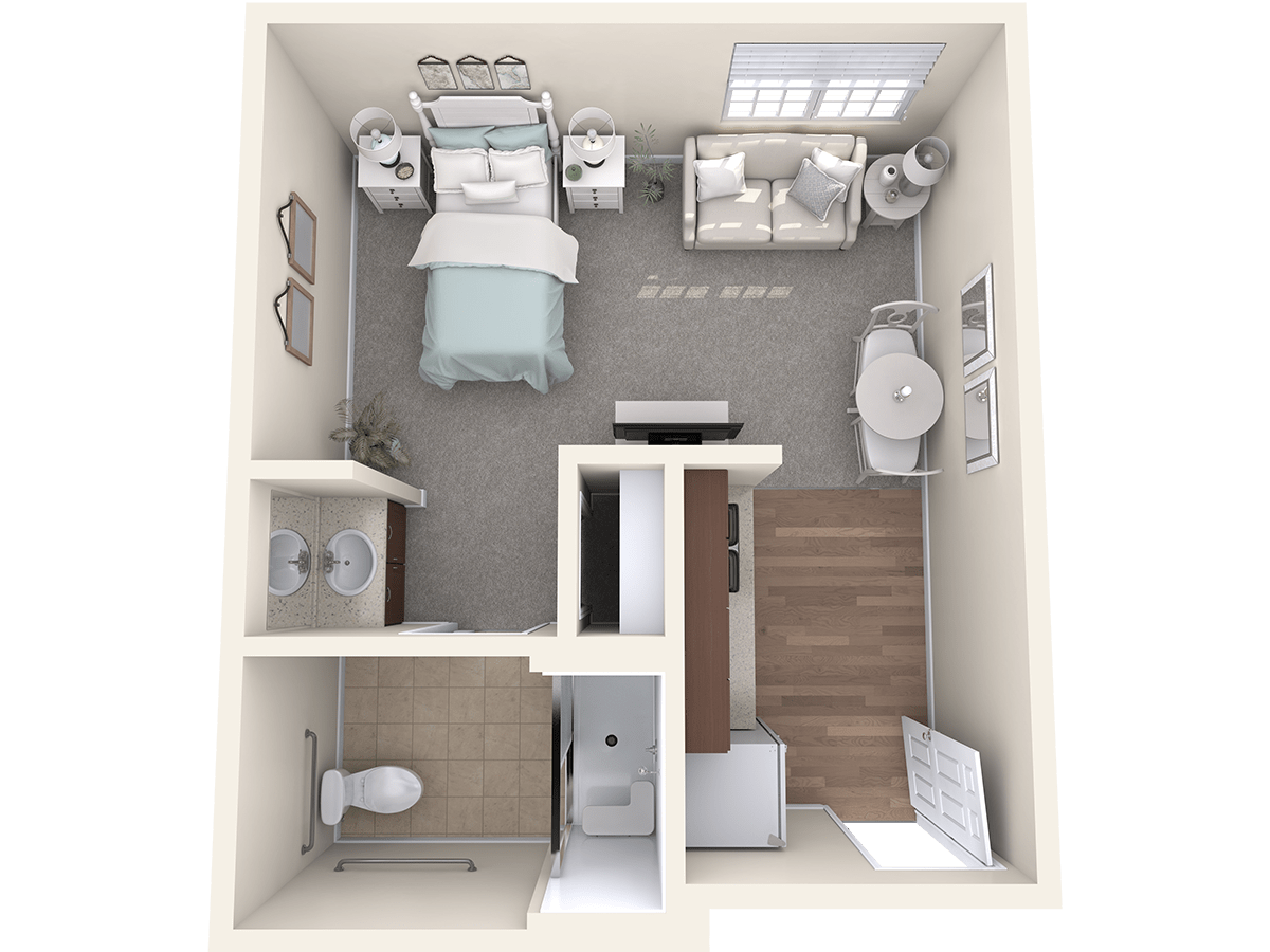 The Joyce floor plan at The Oxford Grand Assisted Living & Memory Care