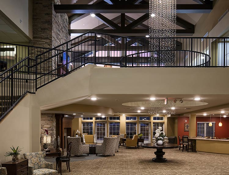 Grandiose entryway at The Oxford Grand Assisted Living & Memory Care