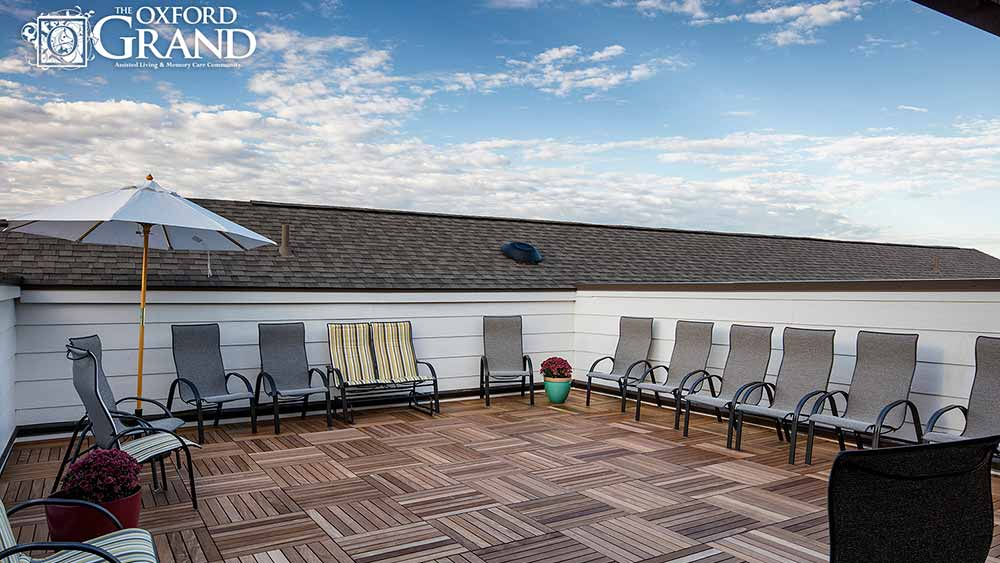 Roof top patio at The Oxford Grand Assisted Living & Memory Care in Kansas City, MO