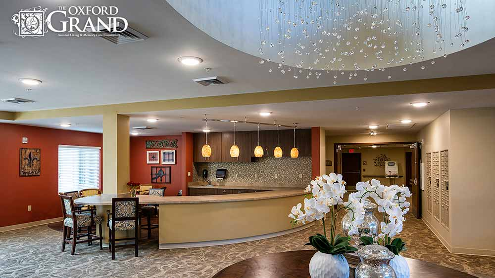 Community kitchen at The Oxford Grand Assisted Living & Memory Care in Kansas City, Missouri