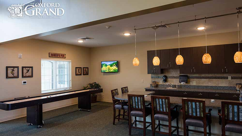 Game room at The Oxford Grand Assisted Living & Memory Care in Kansas City, MO