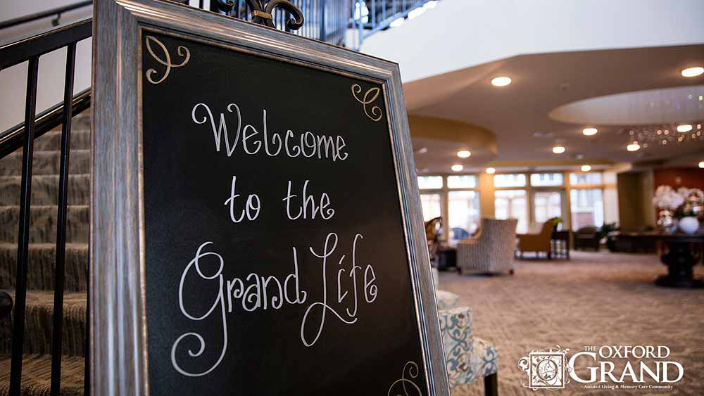 A welcome sign at The Oxford Grand Assisted Living & Memory Care in Kansas City, Missouri