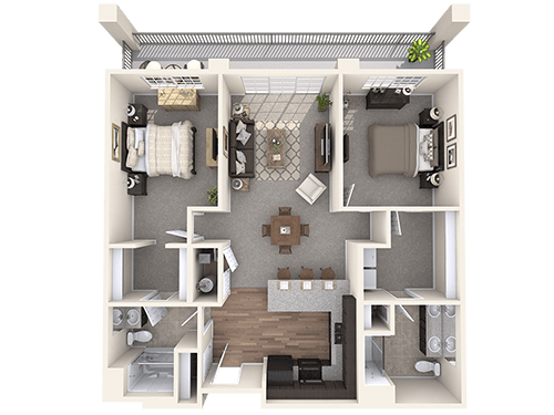 The Bristol floor plan at Oxford Villa Active Senior Apartments