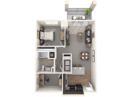 The Dorset floor plan at Oxford Villa Active Senior Apartments