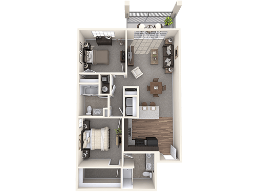 The Durham floor plan at Oxford Villa Active Senior Apartments
