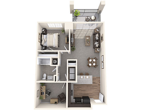 The Kent floor plan at Oxford Villa Active Senior Apartments