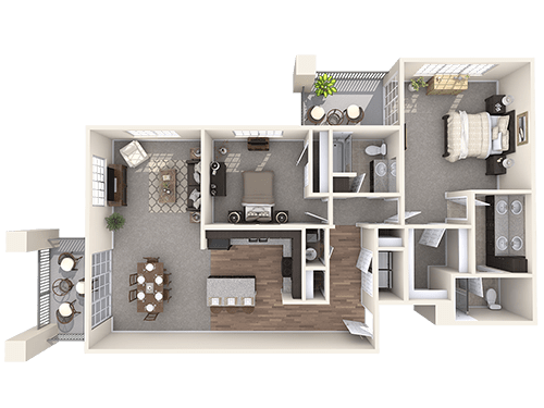 The London floor plan at Oxford Villa Active Senior Apartments