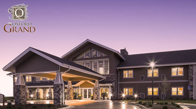 Our community at The Oxford Grand Assisted Living & Memory Care lit up beautifully at night