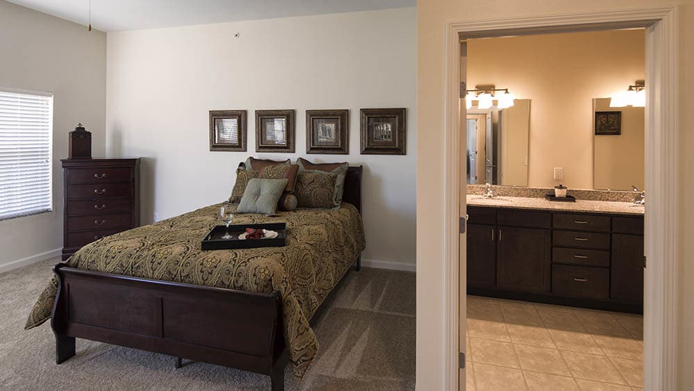 Master bedroom at Oxford Villa Active Senior Apartments