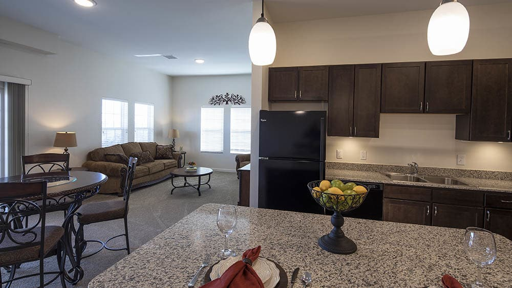 Spacious kitchen at Oxford Villa Active Senior Apartments
