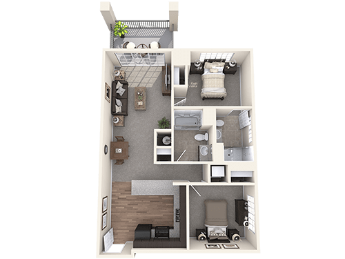 The Sheffield floor plan at Oxford Villa Active Senior Apartments