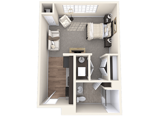 The Surrey floor plan at Oxford Villa Active Senior Apartments