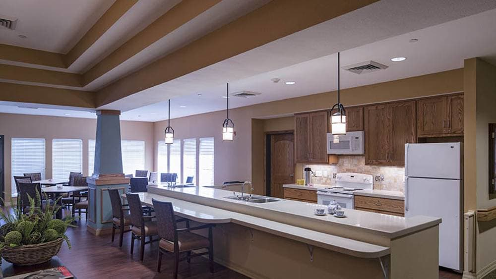Community kitchen at Oxford Glen Memory Care at Grand Prairie in Grand Prairie, Texas