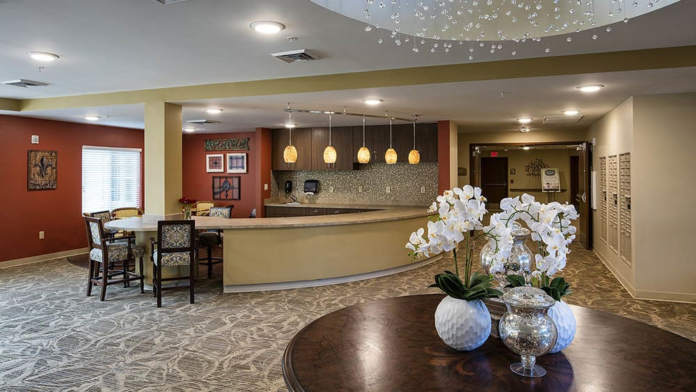 reception and foyer at The Oxford Grand Assisted Living & Memory Care in McKinney, Texas