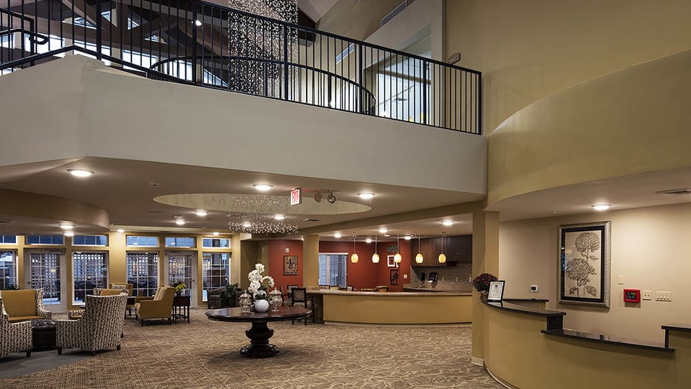 first floor lobby at The Oxford Grand Assisted Living & Memory Care in McKinney, Texas