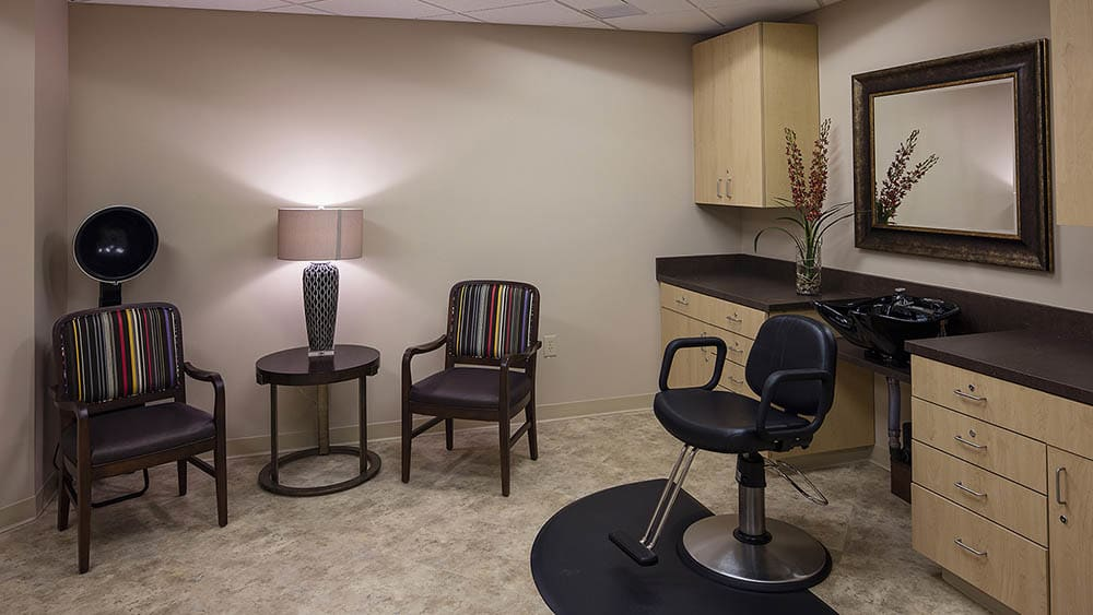 Hair salon at The Oxford Grand Assisted Living & Memory Care in McKinney, TX