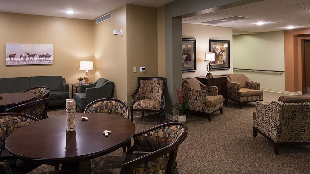 resident clubhouse at The Oxford Grand Assisted Living & Memory Care in McKinney, Texas
