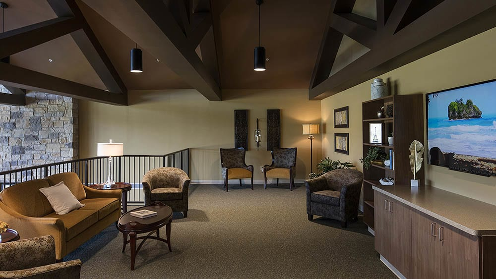 upstairs clubhouse for senior residents of The Oxford Grand Assisted Living & Memory Care in McKinney, Texas