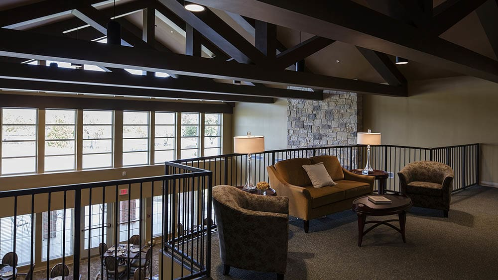 balcony over the dining room at The Oxford Grand Assisted Living & Memory Care in McKinney, Texas