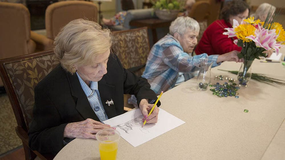 senior day activities at Oxford Glen Memory Care at Carrollton in Carrollton, Texas