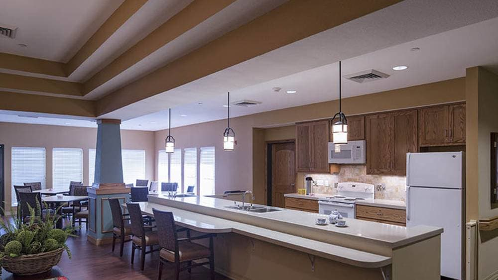 Fully equipped kitchen at Oxford Glen Memory Care at Owasso in Owasso, OK
