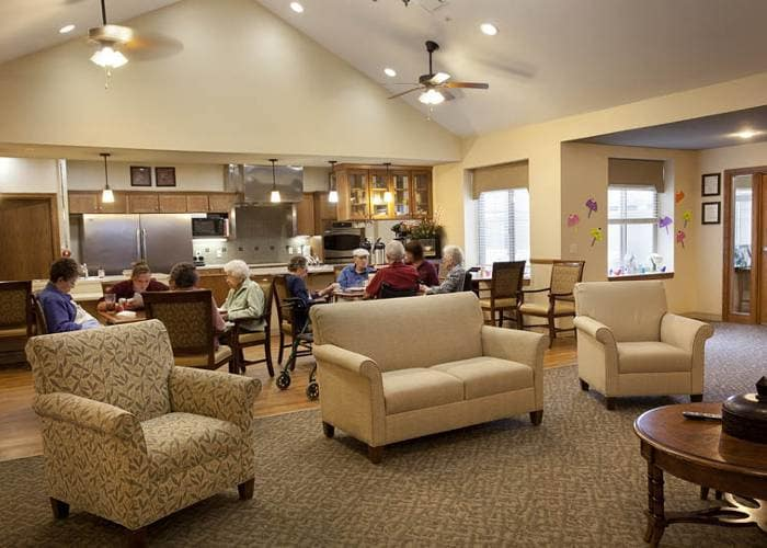 Lounge and kitchen at Glen Carr House Memory Care