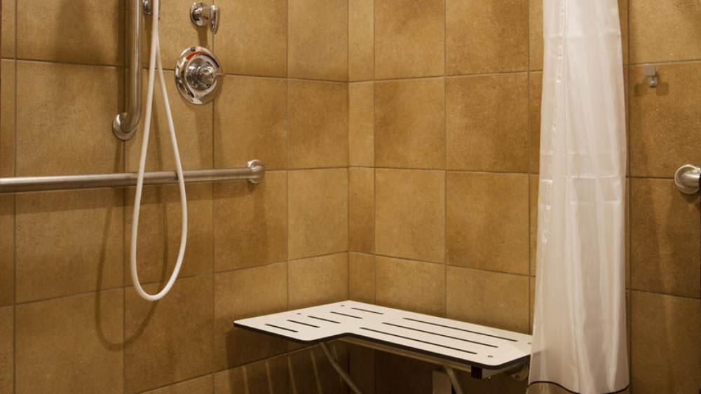 Spacious shower at Glen Carr House Memory Care in Derby, Kansas