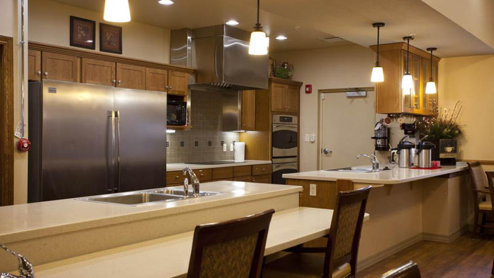 community kitchen at Glen Carr House Memory Care in Derby, Kansas
