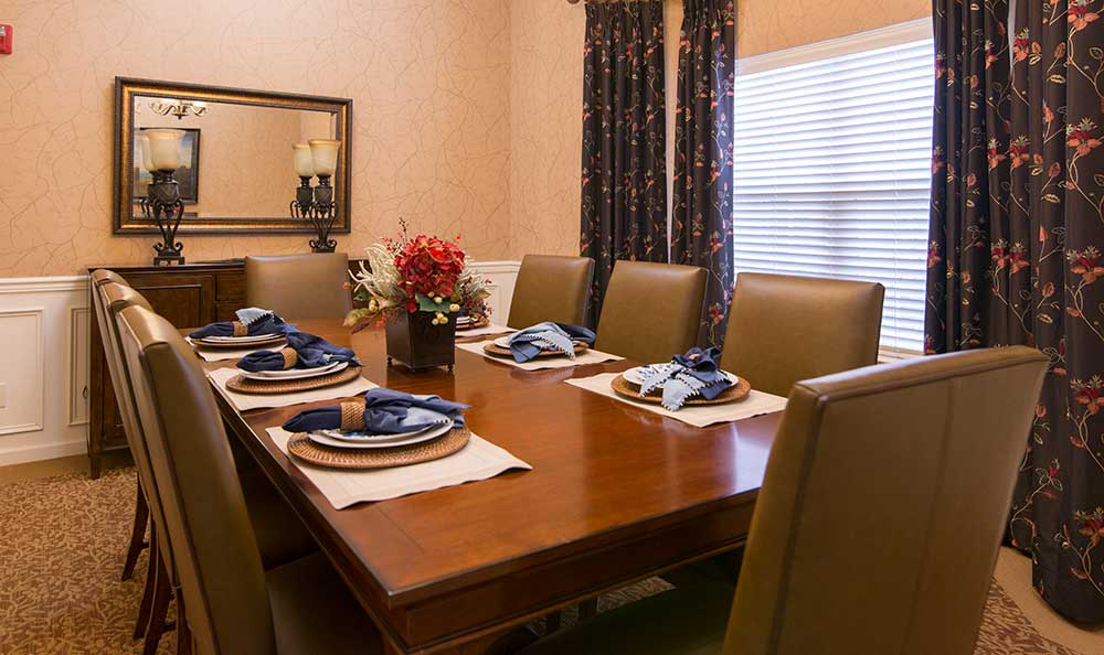 A private dining room at The Lantern at Morning Pointe Alzheimer's Center of Excellence, Clinton