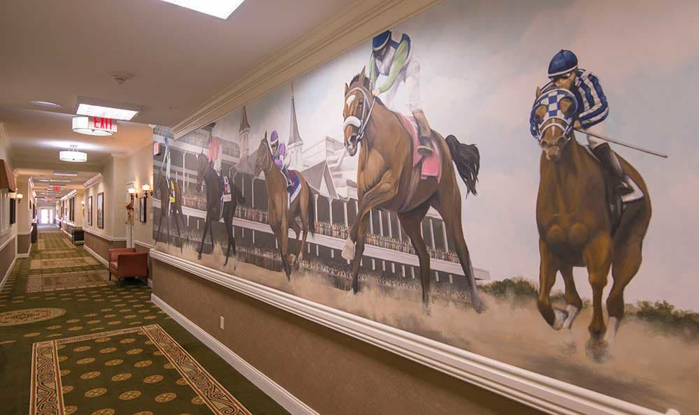 A pretty mural of the famous Kentucky Derby at Morning Pointe of Louisville