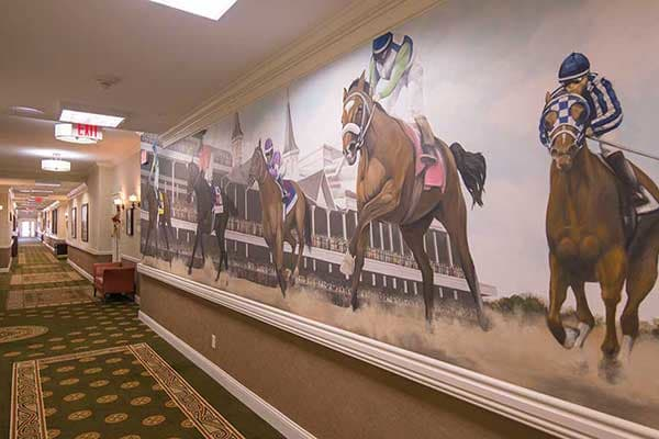 The mural in the hallway of Morning Pointe of Louisville