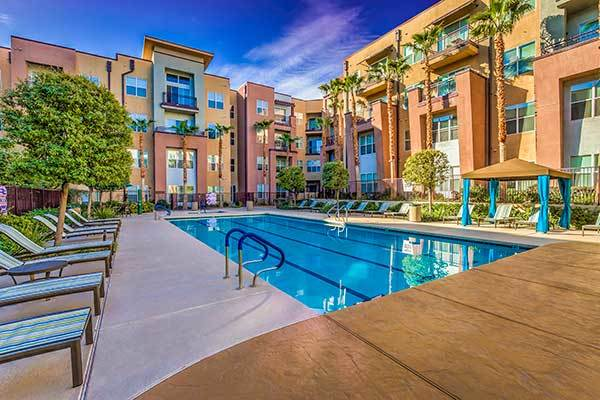 Lofts at 7100 offers a resort-style pool along with other luxury amenities