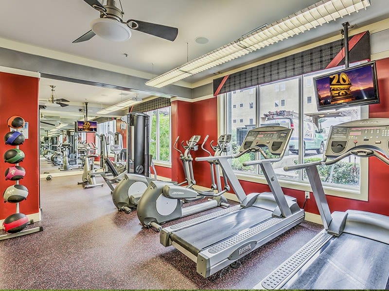 Fitness center at Lofts at 7100