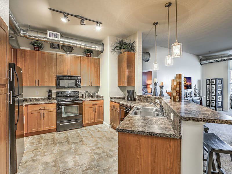 Lofts at 7100 model kitchen