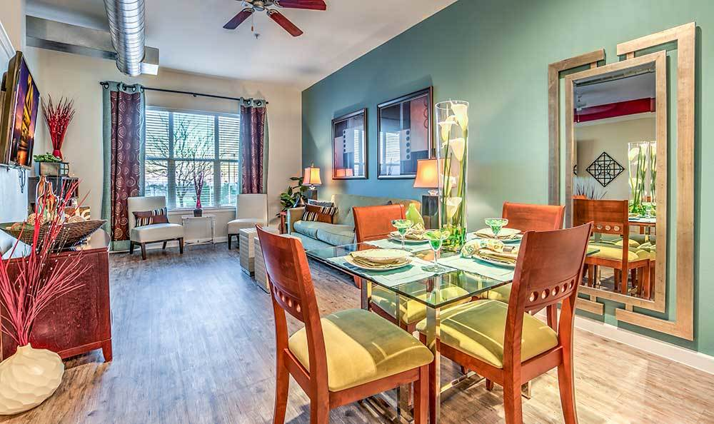 Model dining room at Lofts at 7100
