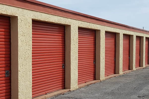 Red Storage Doors With Locks at U-Store-It in Abilene, TX