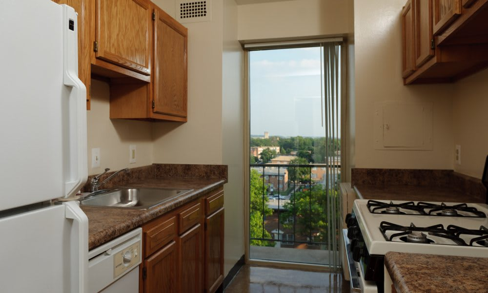 Updated kitchen at Capitol Park Plaza & Twins in Washington