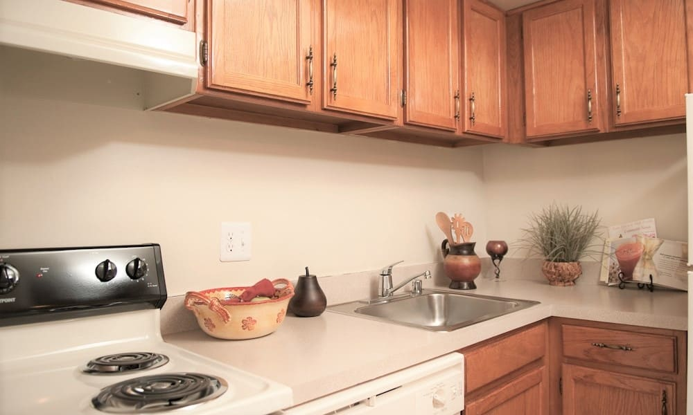 Updated kitchen at Park Forest Apartments in Oxon Hill