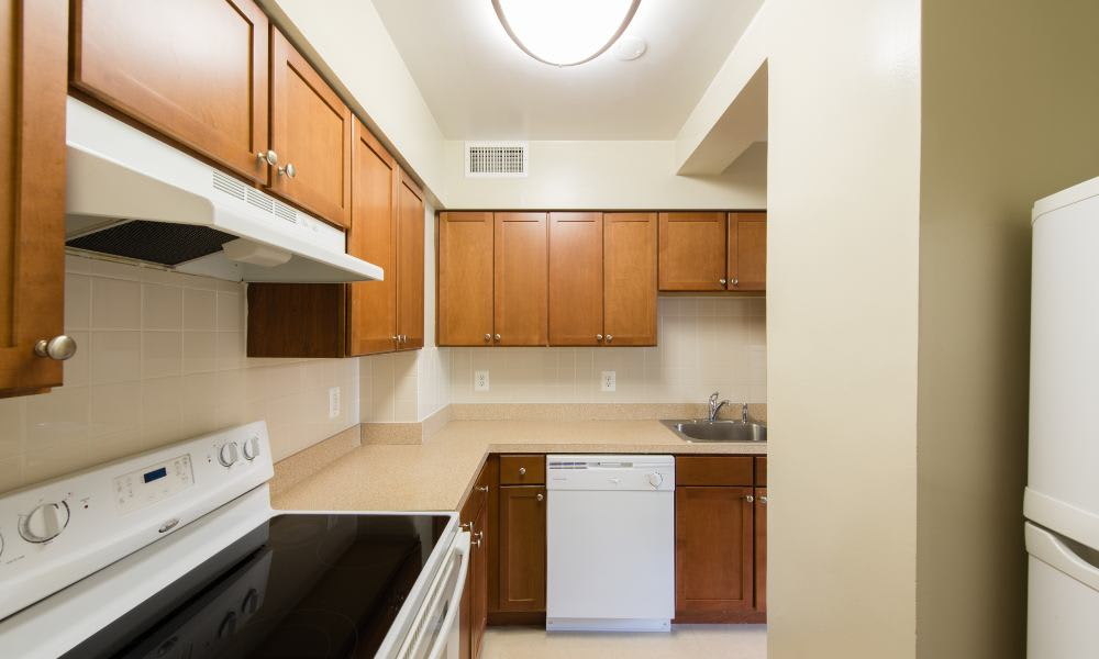 Updated kitchen at Pooks Hill Tower and Court in Bethesda