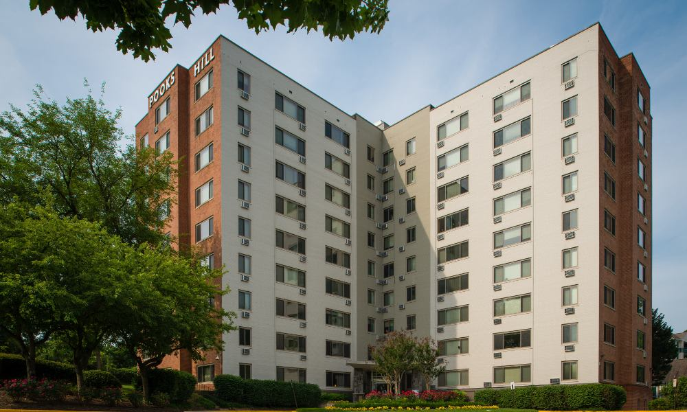 Apartment building view at Pooks Hill Tower and Court in Bethesda