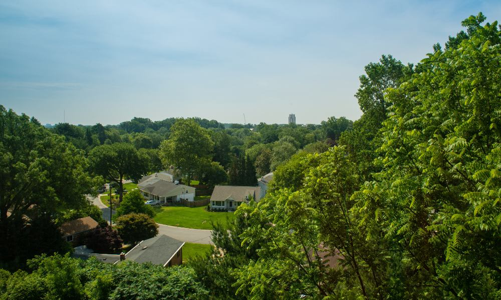 Aerial view of Pooks Hill Tower and Court in Bethesda