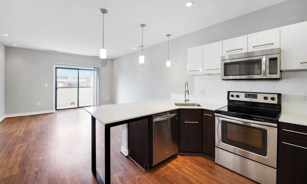 Modern kitchen at The Aria on L in Washington
