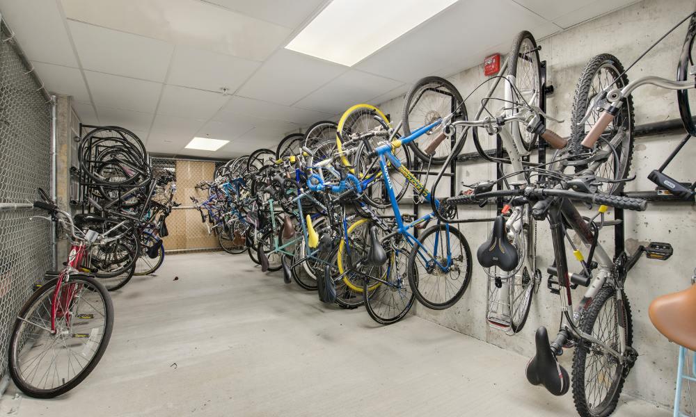 Bike storage at The Aria on L in Washington