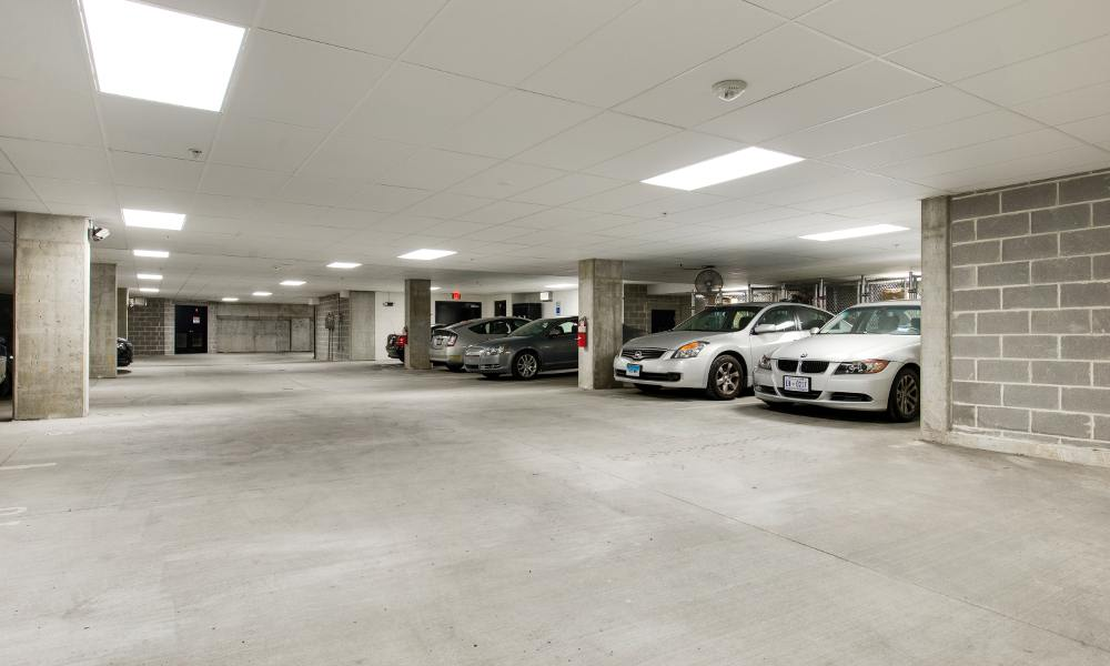 Parking garage at The Aria on L in Washington