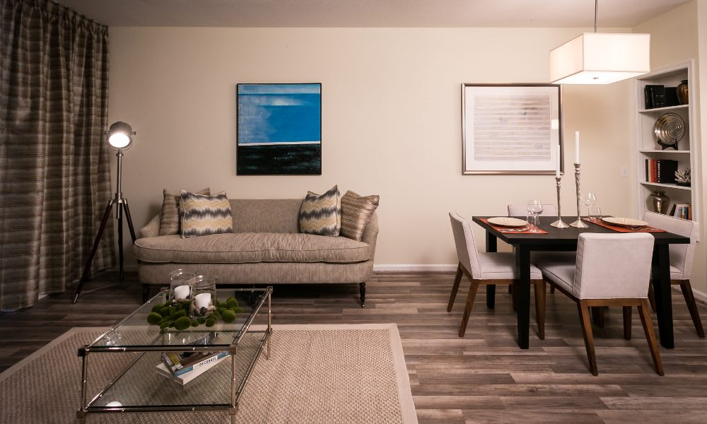 Living room and dining area at The Premier in Silver Spring