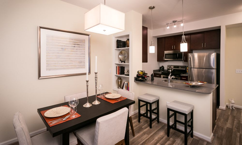 Updated kitchen and dinig area at The Premier in Silver Spring