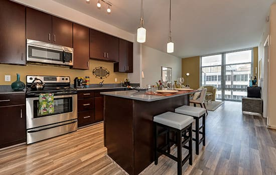 Beautiful kitchen with breakfast bar at The Premier