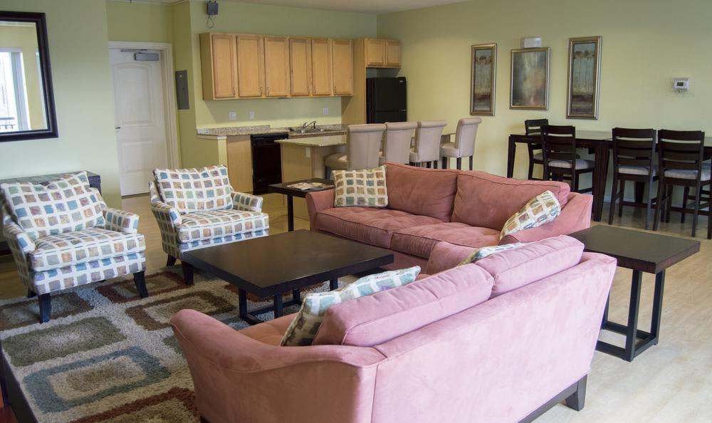 clubhouse comfy living room at The Flats at West Broad Village in Glen Allen, VA